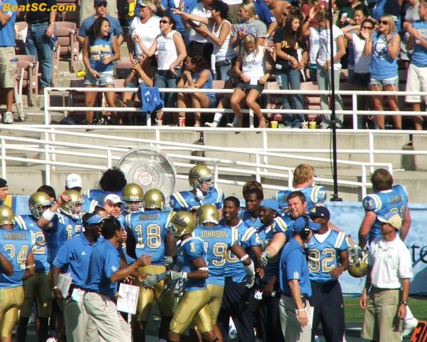 The Coaches, Breazell and Johnson celebrate their trick-play TD.