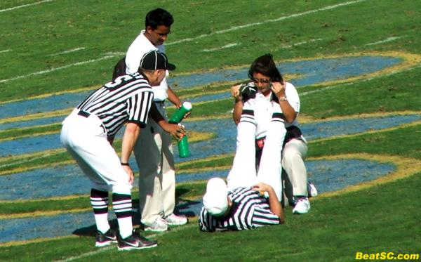 The injuries are so abundant, even the Refs took one on the shin.  Usually for them, it's a BRAIN cramp, not a LEG cramp.