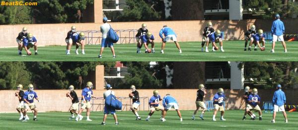 Norm had all 5 QB's develop the exact same routine, in perfect sync (That's him bent over in the middle).