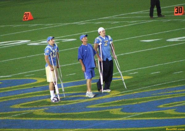 DURING the Scrimmage, Neuheisel brought out the two injured Senior QB's, and praised them in front of the crowd.