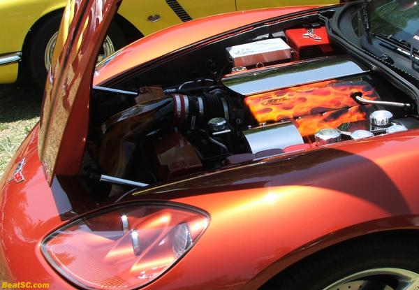 This Corvette ENGINE has a better paint job than most CARS.
