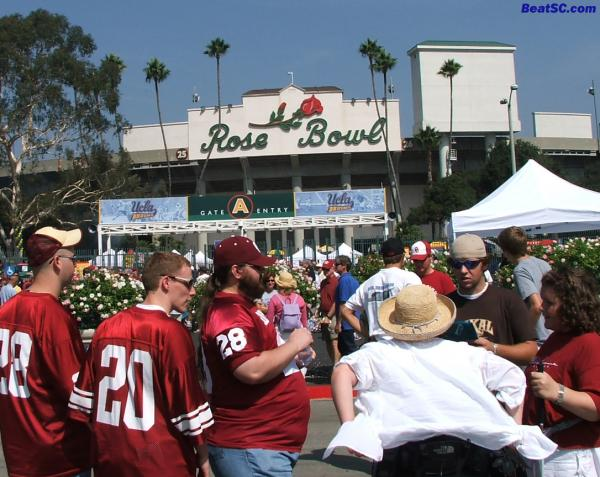 Welcome to the Rose Bowl — Hope you have more fun than a pig in slop.