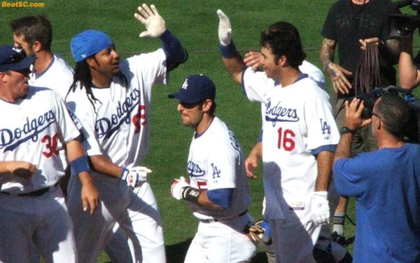 Everything was going great last year (although he almost broke Ethier's wrist with this high five)…