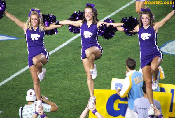 KSU brought three (count 'em, THREE) Cheerleaders.  Very nice, and cute, but another reminder that once you come to UCLA, you're glad you're not in Kansas any more.