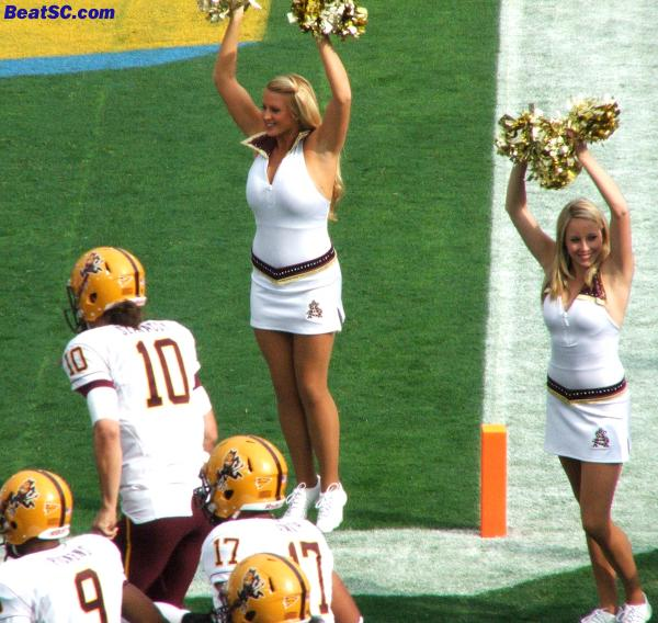 The ASU Cheerleaders were cute, so no offense to them, but they are still living reminders of how fortunate Bruin fans are.  Here they welcome their Starting QB Samson Szakacsy to the field.