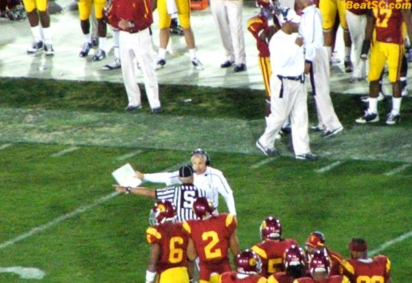"Carroll went crazy when the Bruins got a big play, but the Refs nullified the gain on an ""inadvertant whistle."""
