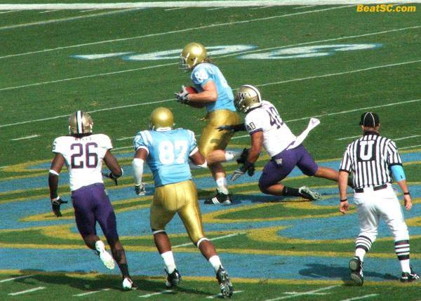 This is how Prince started his Career Day, with a pass to Logan Paulsen over the middle that went for a huge gain down to the Husky 2-yard line.