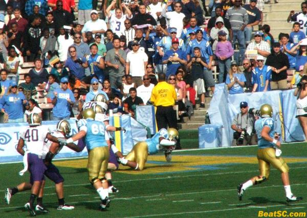 Nice call, Norm — On 4th & 1, UCLA eschewed Forbath for once, and THREW the ball, to Cory Harkey for the TD.