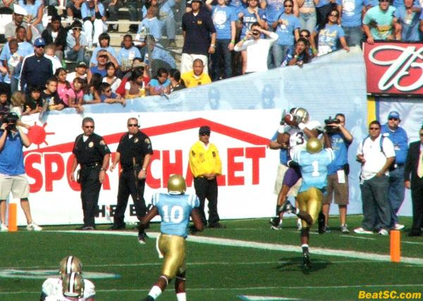 Verner made almost every big tackle for UCLA all day, but he did get beat for a couple of long strikes, like this one.