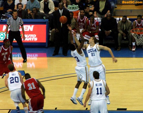 """Same team!  Same team!""  A little Bruin-to-Bruin communication would have kept DSU from getting this Rebound."
