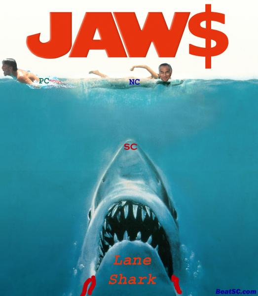 This Shark motif would have been a bonanza if SARKissian got the gig and turned out to be half as slimy as Kiffin.