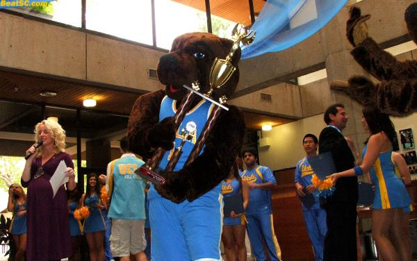 The Bruin Mascots are actually Reigning National Champions, after winning this trophy at the Nationals in Anaheim.