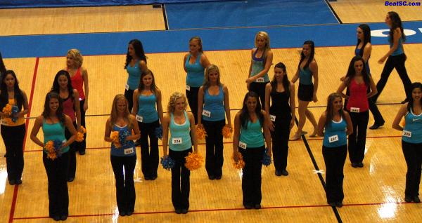 This was the original walk-in, with about 40 Dance Team hopefuls.  They cut it down to 21 Finalists, then 11 who actually made it.