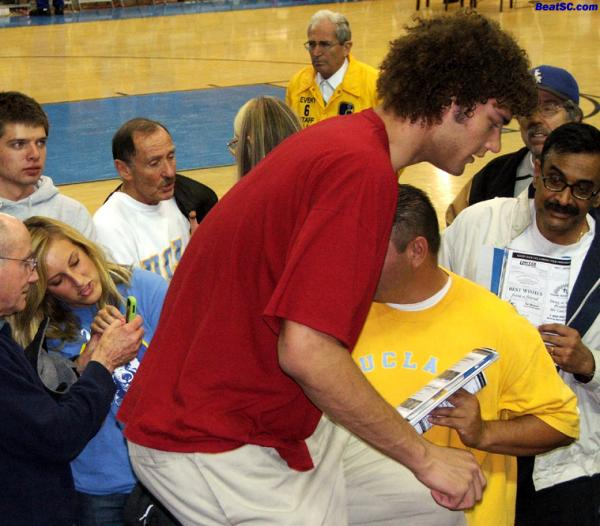 Lopez Tonite! — Phoenix Sun Starting Center and ex-Stanford Star Robin Lopez crouches in Pauley, to be only ONE foot taller than everyone else… As an old man takes a picture of R-Lo's ass and shows it to his Granddaughter.