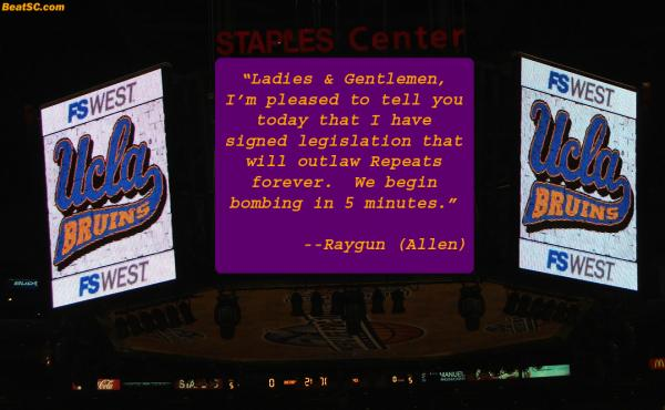 A pre-game warning.  The Lakers should have taken cover.