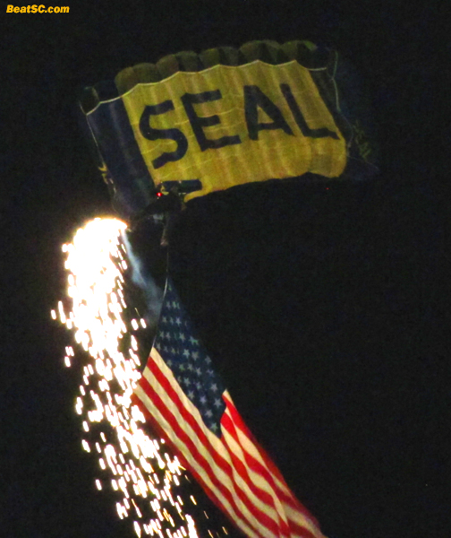 The Navy Seals parachuted in to open the festivities.