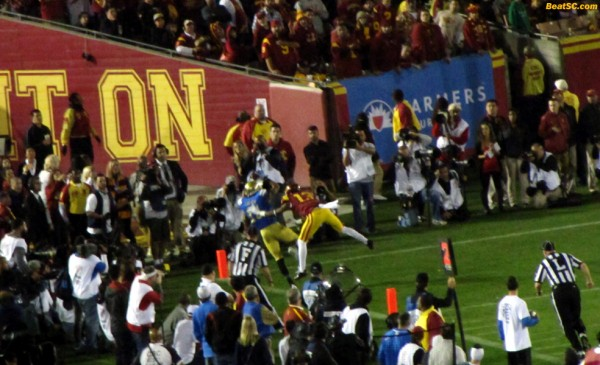 Devin Lucien makes a great catch for a near-Touchdown, which was overturned when the replay showed his foot landing out of bounds
