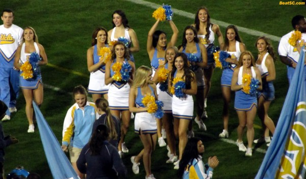 The UCLA Spirit Squad takes the field before the game
